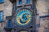 stock photo of bohemia  - Astronomical Clock on Old Town Hall Tower in Prague Czech Republic - JPG
