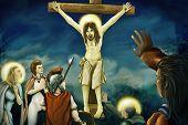 Crucifixión de Jesús - pintura Digital