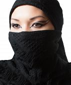 Oriental Arabian Makeup,portrait Of Asian Kazakh Woman In Hijab With Professional Make-up, Isolated