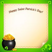 stock photo of triskele  - Pot of leprechauns gold with lucky clovers greeting card - JPG