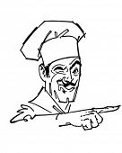Pointing Chef - Retro Clipart Illustration