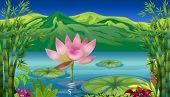 Ilustración de un lago y un hermoso paisaje