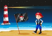 Illustration of a pirate and a lighthouse