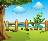 Illustration of a big tree inside a fence
