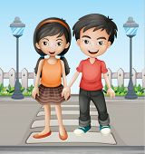 Illustration of two teenager holding hands together