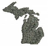 picture of wolverine  - Conceptual Image of the state of Michigan created by Dollar Bills - JPG