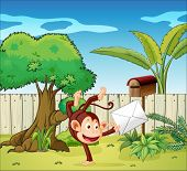 Illustration of a monkey holding an envelope