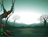 Ilustración de una visión oscura del bosque