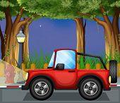 Постер, плакат: Иллюстрация красный jeepney на дороге