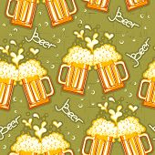 Beer Seamless Pattern.vector Glasses Of Beer Background
