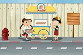 Illustration of kids and a meat ball street cart