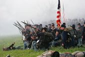 Union Line Crouching Under Fire