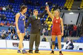 KIEV, UKRAINE - FEBRUARY 16: A. Wieszczek-Kordus, Poland win the match with V. Marzaliuk, Belarus du