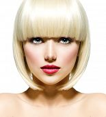Fashion Stylish Beauty Portrait with White Short Hair. Beautiful Girl's Face Close-up. Haircut. Hair