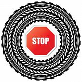picture of street-rod  - tire track with stop sign with special design - JPG