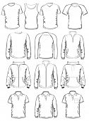 stock photo of v-neck collar  - Collection of men clothes outline templates - JPG