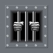 image of lockups  - Prison bars with his hands crime metal illustration - JPG