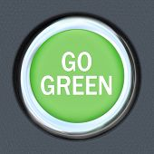 A green car ignition button with the words Re-Start Economy on it