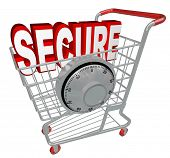 A shopping cart with the word Secure inside it and a combination lock symbolizing the protection pro
