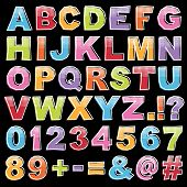 pic of punctuation  - cut out alphabet shapes with letters numbers and punctuation with white half tone on black - JPG