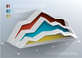 3d Business graph on white background. Vector illustration. . Can be used for infographics