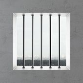 stock photo of jail  - Jail window and sky - JPG