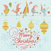 Merry Christmas card in vector. Cute funny birds in holiday concept background with vintage toys