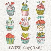 Sweet cupcakes in vintage vector set. Cartoon tasty cupcakes in bright colors