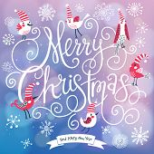 Fantastic Merry Christmas card in vector. Cute stylish birds on Merry Christmas text on bright bokeh background