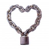 Chain And Padlock In Heart Shape