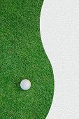 White golf ball on green grass background