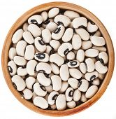 Black eyed peas beans bowl dish top view close up isolated on a white background