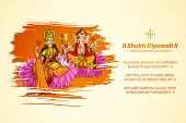 image of lakshmi  - illustration of Goddess Lakshmi and Lord Ganesha in Diwali - JPG