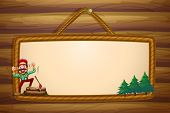 Illustration of a hanging wooden template with a lumberjack shouting