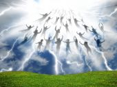 stock photo of day judgement  - The Rapture of People out of the world - JPG