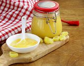 Homemade lemon curd in glass jar