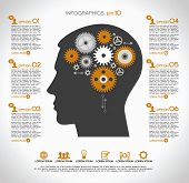 Concept of modern business. Silhouette of a human head with the brain and gears. Infographics templa