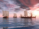 image of viking ship  - Computer generated 3D illustration with Viking Ships at sunset - JPG