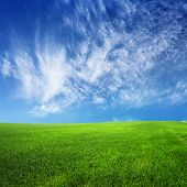 Clouds On Blue Sky And Green Field
