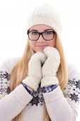 Attractive Young Cute Woman In Eyeglasses With Long Hair In Warm Winter Clothes Isolated On White