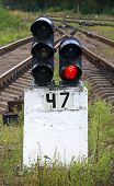 Railway Semaphore Shows Red Light