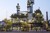stock photo of chimney  - A photo of a petrochemical industrial plant - JPG