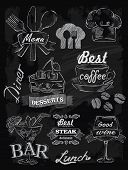 stock photo of vines  - vector chalk menu set on chalkboard background - JPG