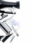 stock photo of grooming  - hairdresser Accessories for coloring hair on a white background with clipping path - JPG