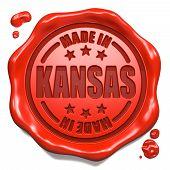 Made in Kansas - Stamp on Red Wax Seal.