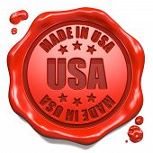 Made in USA - Stamp on Red Wax Seal.