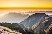Sunset scenery with the famous Yushan West Peak, Taiwan, Asia.