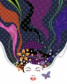 picture of sleeping beauty  - Vector illustration of Floral pattern hairstyle design - JPG