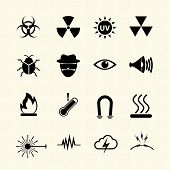 Symbols danger icons set. Vector