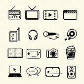 Multimedia and entertainment icons set on texture background. Vector